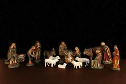 Marolin Betlehem 18db Kézzel Készített Német Papírmasé Figura 12cm Karácsonyi Ajándék