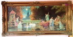 Vizi nimfák között álmodozó leány, romantikus jelenet, keretezett olaj-vászon festmény