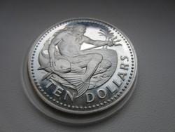 1977 Barbados 10 dollár Neptune - Tengerek Istene ezüst érme RITKA csodaszép!