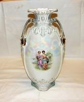 Antik nagyméretű irizáló Viktória  porcelán váza 39 cm