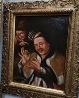 17. századi, igazi antik ritkaság! Németalföldi zsánerkép az 1600as évek elejéről.