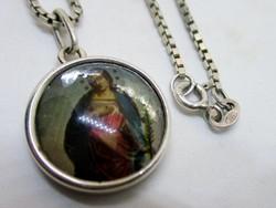 Gyönyörű antik Jézus és Mária ezüstnyaklánc