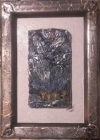 Boldog idők.18x12 cm keret, parafára domborított miniatúra. Károlyfi Zsófia Prima díjas alkotó műve.