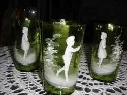 Antik kézzel festett poharak