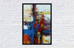 """""""Vörös és kék """" Koso festmény hatalmas 70 x 100 cm ,keretes akció"""