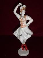 Hollóházi porcelán figurális szobor, kézzel festett csárdáskirálynő. 26 cm magas.