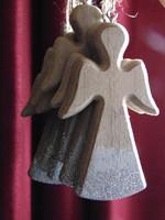 Angyal karácsonyfadísz - fa ezüst