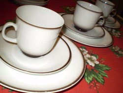 WINTERLING fehér/barna porcelán kávés csésze 2 kistányérral 3 garnitúra.  hibátlan 3 garnitúra