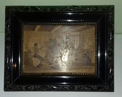 2 db intarzia falikép kerettel