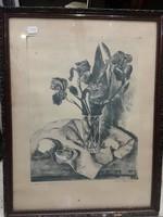Kiss Terézia, 29 x 31 cm-es, tusrajz, gyönyörű csendélet, ajándéknak.