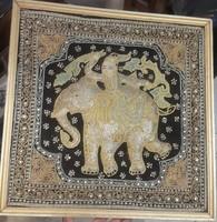Ezüst szál szövésű indiai kép, 50 x 50-es, a XIX.század elejéről, min. fél kg ezüst