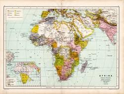 Afrika politikai térkép 1890, német, atlasz, eredeti, Hartleben, kontinens, Szahara, Egyiptom, régi