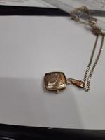 Gyémánt vésett antik 14 k. aranynyaklánc, fényképtartós medállal