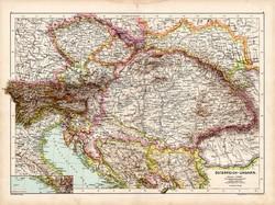 Osztrák - Magyar Monarchia térkép 1890, német, atlasz, eredeti, Hartleben, Magyarország, Galícia