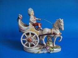 Eladó szép barokk Lippelsdorf porcelán lovas hintó