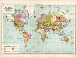 Világtérkép 1890, német, atlasz, eredeti, Hartleben, geológiai, geológia, térkép, régi, Föld, világ