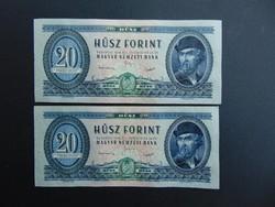 2 darab 20 forint 1949 Rákosi címer sorszámkövető UNC hibátlan bankjegyek !!!