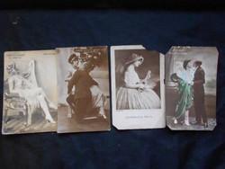 1900-as évek eleje, 4 db fotó, színészekről, színésznőkről, hátuljuk képeslap. Szép állapotban