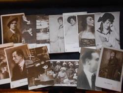 1900-as évek eleje, 32 db fotó, színészekről, színésznőkről, hátuljuk képeslap. Szép állapotban