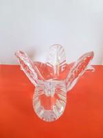 Retro,vintage páfrány alakú üveg kínáló,asztalközép