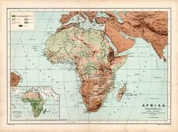 Afrika hegy-, vízrajzi térkép 1890, német, atlasz, eredeti, Hartleben, kontinens, Szahara, Egyiptom