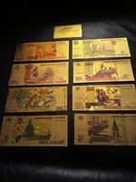 8 darabból álló, 24 kt arany rubel arany bankjegy