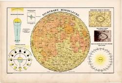Holdtérkép 1890, német, atlasz, eredeti, Hartleben, látható része, csillagászat, bolygó, térkép