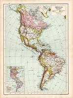 Amerika térkép 1890, német, atlasz, eredeti, Hartleben, észak, dél, közép, szigetek, kontinens, régi