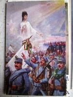 ERZSÉBET KIRÁLYNÉ SZISZI ALLEGORIKUS SZÍNES KATONA KÉPESLAP 1914