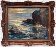 """Herman Lipót ( 1884-1972 ) """" Sziklás tengerpart, napozó aktokkal.. ! """""""