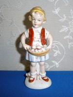 Ritka Lippelsdorfi porcelán gombát szedő kislány 13 cm magas