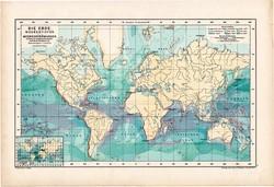 Világtérkép 1890, német, atlasz, eredeti, Hartleben, mélység, áramlat, térkép, óceán, tenger, régi