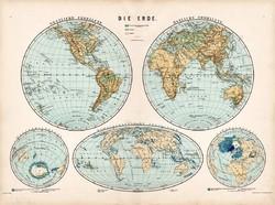 Világtérkép 1890, német, atlasz, eredeti, Hartleben, keleti, nyugati, félteke, hegy-, vízrajzi