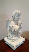 Régi imádkozó angyal nagy gipsz szobor vintage karácsonyi dekoráció 37 cm