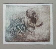 Nagy Szidónia - Medve rézkarc mérete 14 x 17 cm