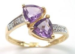 10k tömör arany gyűrű gyémánttal és ametiszttel