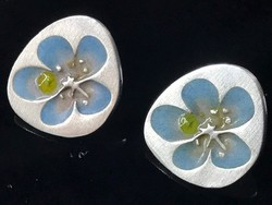 Ezüst Joid'Art fülbevaló zománc virág díszítéssel, jelzett
