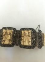 Ritka antik kínai ezüst karkötő elefántcsont faragással