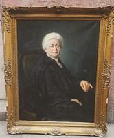 Jelzett nagyméretű olaj-vászon női portré festmény