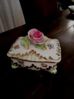 Herendi porcelán rózsás bonbonier, vitrinállapotú