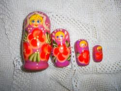 4db-os Matrjoska baba kézi festéssel , szép állapotban