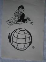 Szepes Béla 4 DB TOTÓ-reklám karikatúra tus 15x21.5 cm egyben 6900 Ft