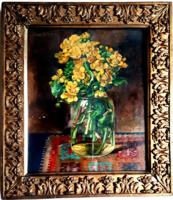 "Angyalffy Erzsébet: ""Sárga virágok üvegben"" 39 x 33 cm."