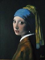 Lány gyöngy fülbevalóval című festmény  - portré J.Vermeer nyomán