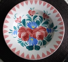 Hollóházi virágmintás fali tál (1902-1915) 23,5 cm./12