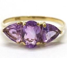 Tömör arany gyűrű természetes ametiszt kövekkel