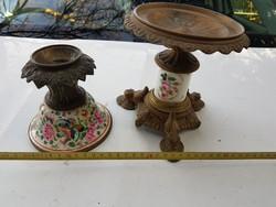 Egy bronzírozott, vmilyen fém lerakó, és egy réz/bronz gyertyatartó, porcelán betéttel