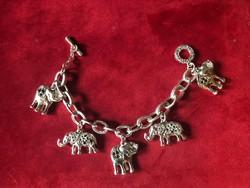 Elefántos ezüstözött karkötő