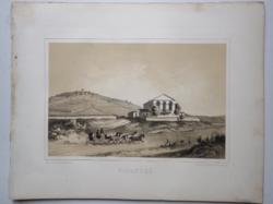 Keleti Gusztáv: Disznókő. Litográfia az eredeti(!) Tokaj-hegyaljai albumból (Pest, 1867)
