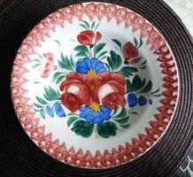 Nagyon szép Hollóházi virágmintás fali tál (1902-1915) 23,5 cm./19.
